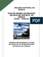 Municipalidad Distrital de Taraco Plan de Manejo Final