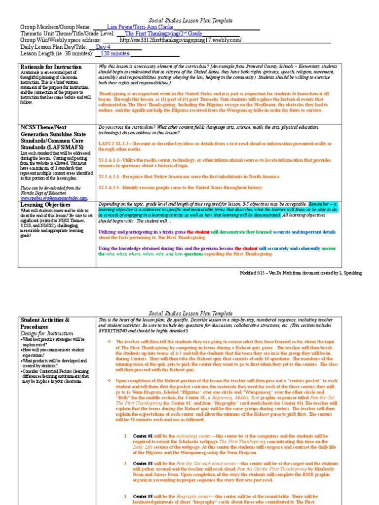 Sse 3312 Thematic Unite Lesson 1 Lesson Plan Educational Assessment