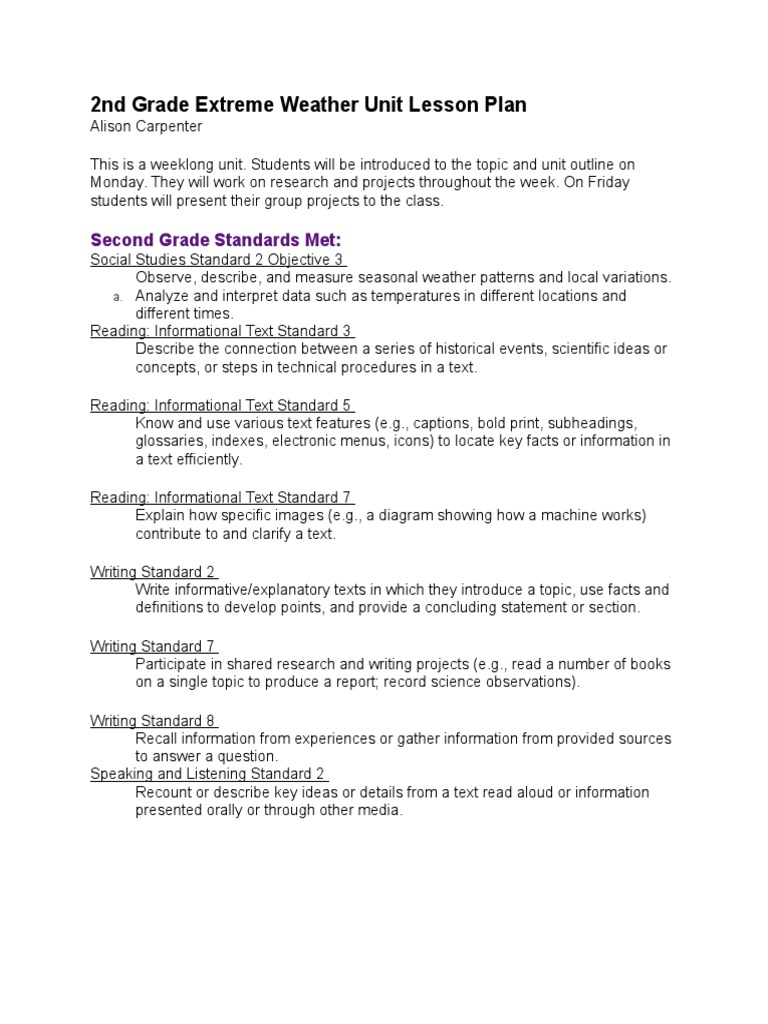 2nd Grade Extreme Weather Unit Lesson Plan Lesson Plan Extreme