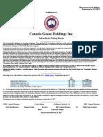 Prospectus Canada Goose (March 2017)