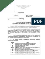 Template Ex-Parte Motion to Litigate as Pauper Litigant