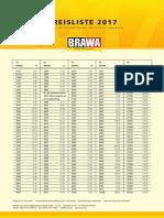 BRAWA UVP Preisliste 2017