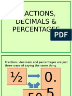 Fractions Decimals Percentages