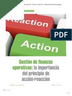 Gestion de Finanzas Operativas. La Importancia del principio de acción-reacción