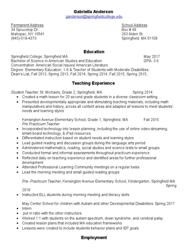 resume | Primary Education | Teachers