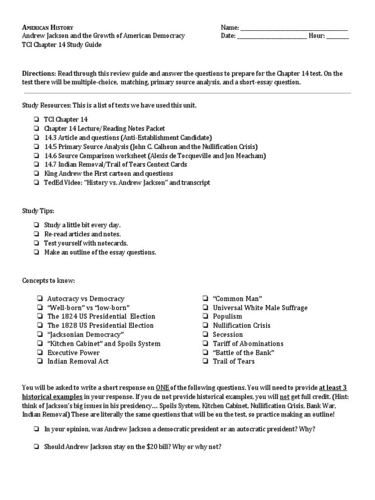 The Age of Jackson - Crossword - Quickworksheets.net