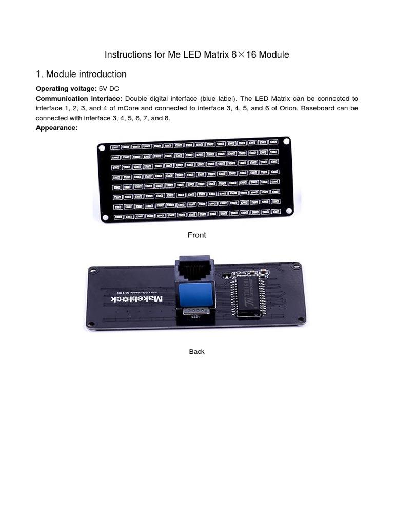 Me LED Matrix 8×16 User Guide   Parameter (Computer Programming