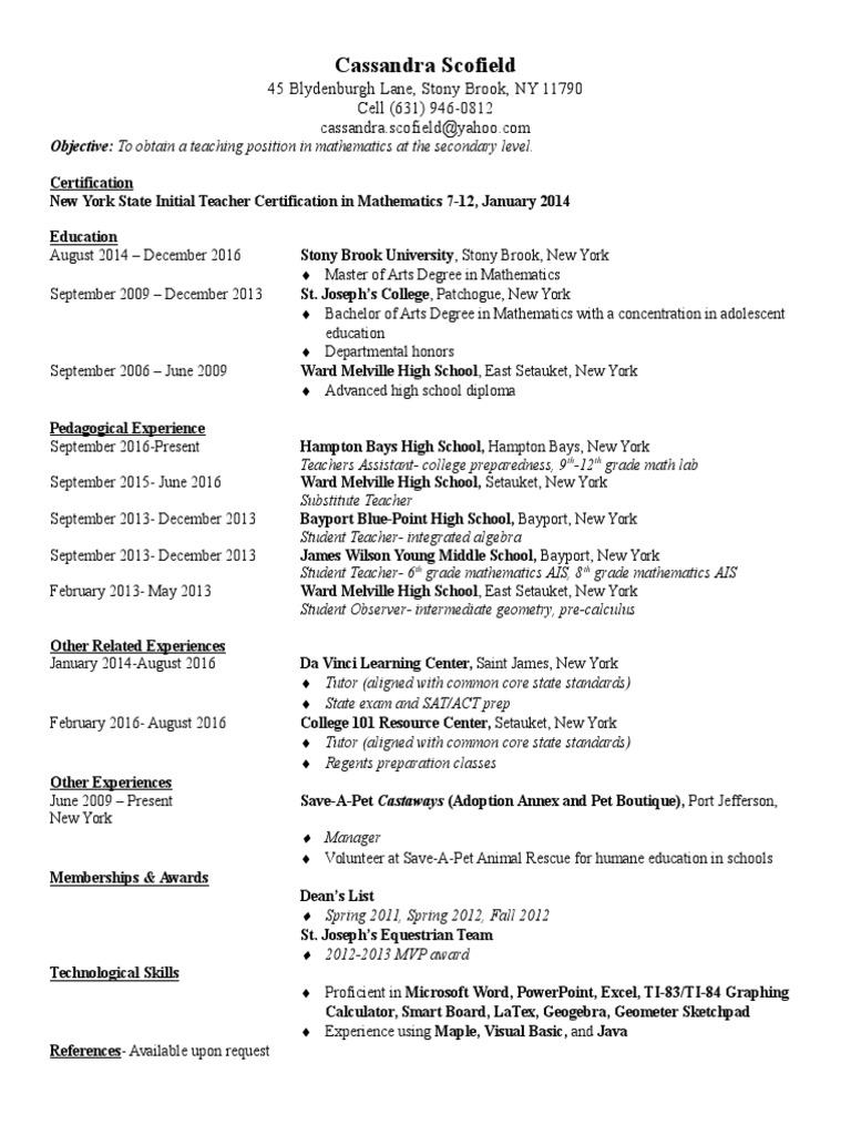 Resume Secondary School Regents Examinations