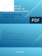 Applications of Remote Sensing in Disaster Management Earthquakes and Land Slides