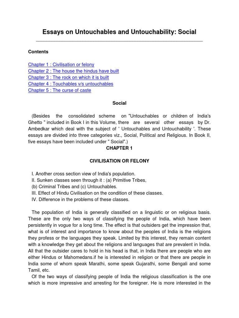 Essay on untouchables and untouchability social