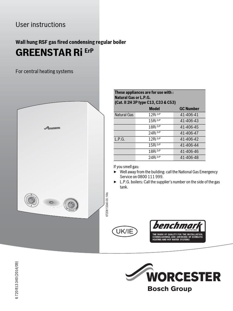 Greenstar 12-14 Ri ErP Operating Instructions | Thermostat