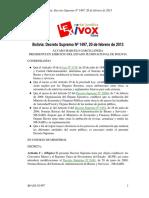 D.S. Nº 1497 de 20 de Febrero de 2013 Que Modifica D.S. 0181