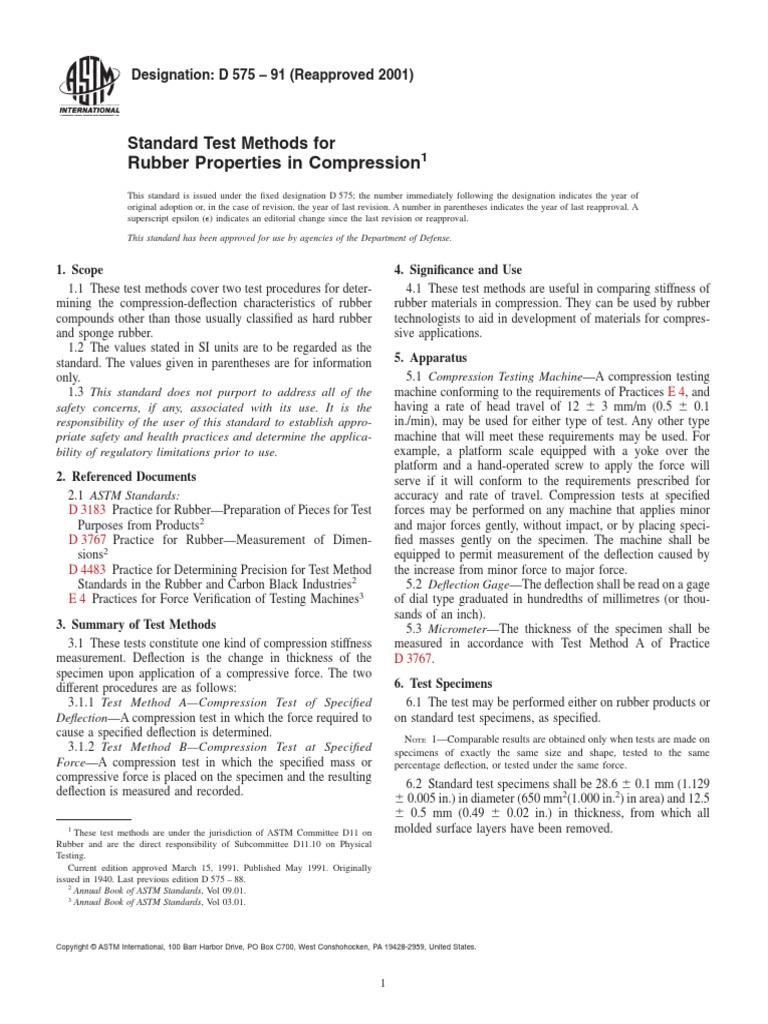 D575-91(2001) Standard Test Methods for Rubber Properties in