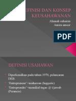 Definisi Dan Konsep Keusahawanan