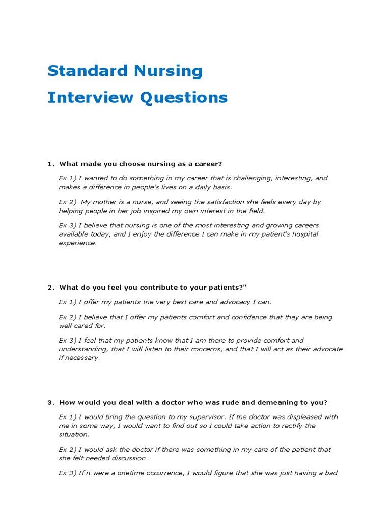 Nursing Interview Questions   Nursing   Patient