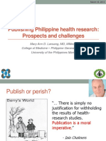 Publishing Philippine Health Research - Prospects and Challenges