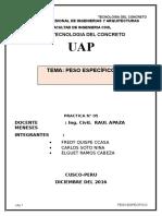 Informe de Peso Especifico