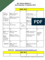 revised semester 2 calendar alg  2 2017