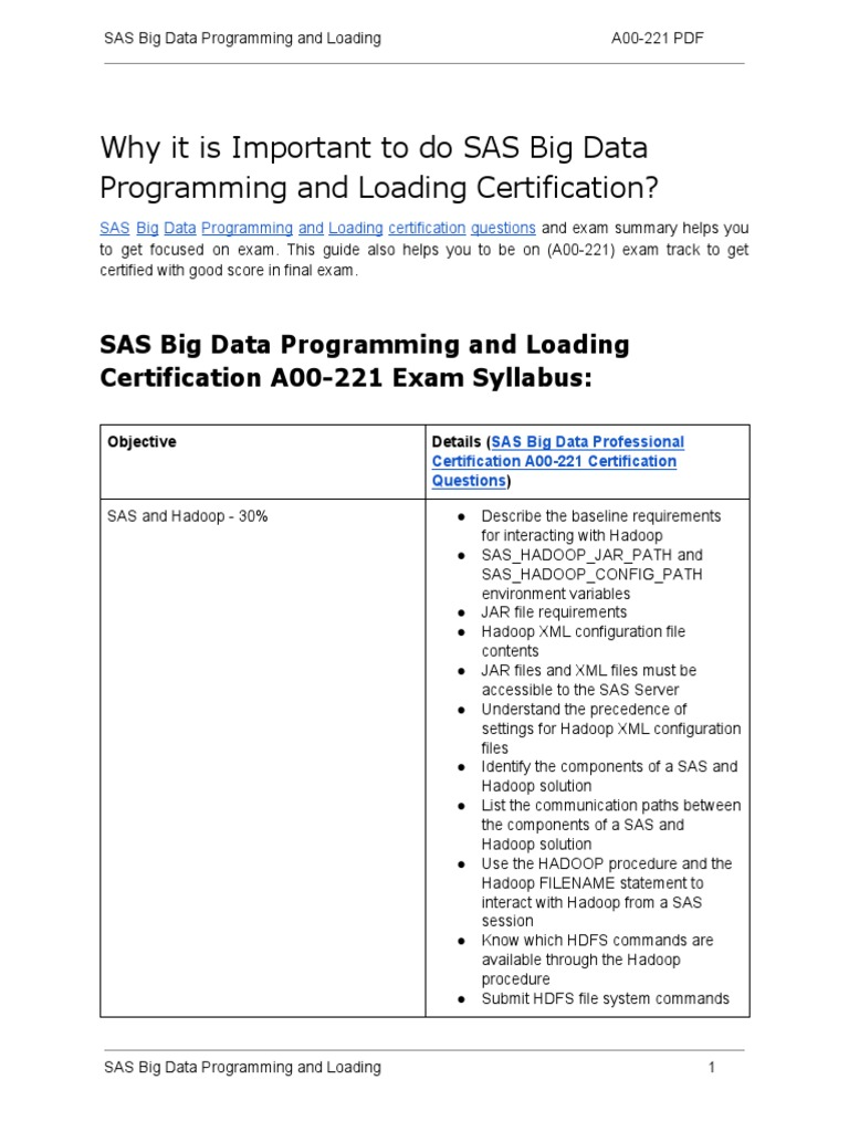 A00 221 Certification Guide And How To Clear Exam On Sas Big Data