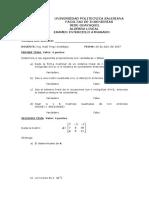Exámen Interciclo Atrasado Algebra Lineal