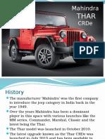 Automobile Presentation - Mahindra THAR CRDe