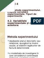 Cursul 4 Experimentul Variabilele Experimentale