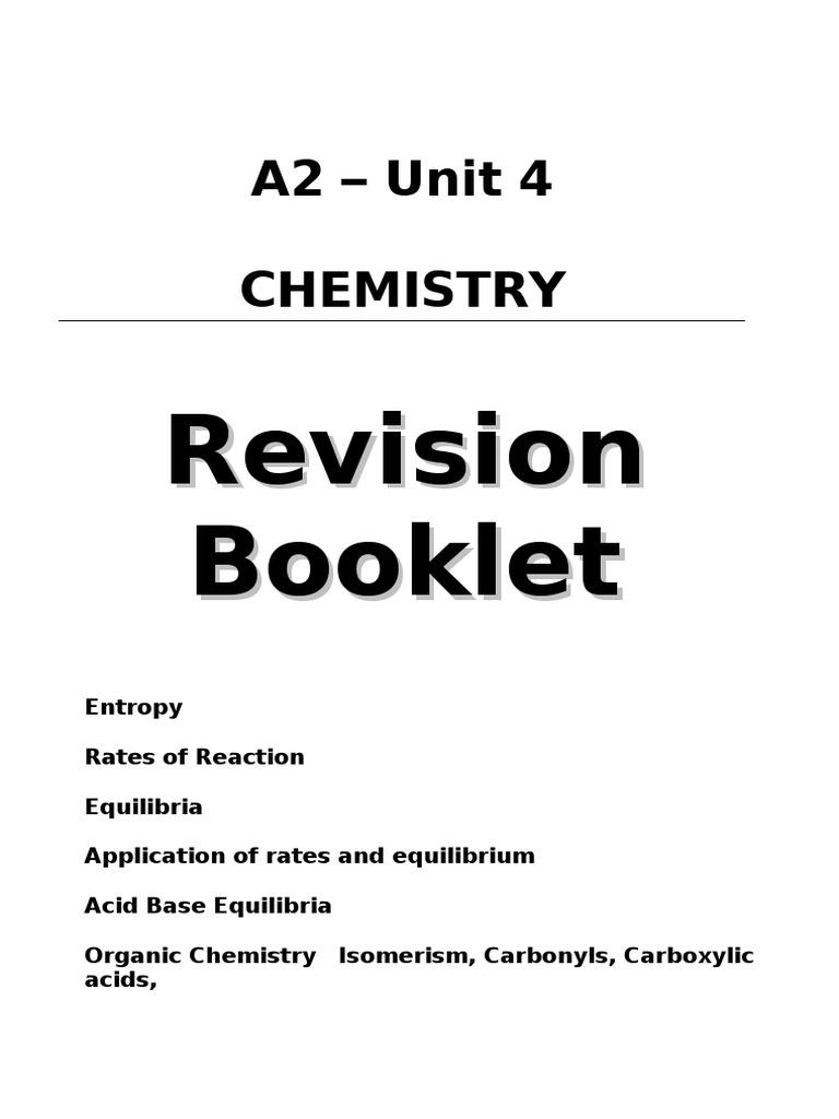 107185470 Revision Booklet Unit 4 Chemistry Edexcel