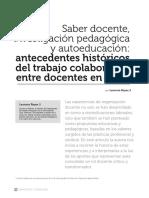 Saber Docente Investigación Pedagógica y Autoeducación. Antecedentes históricos del trabajo colaborativo entre docentes en Chile.
