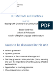 ELT Methods - Dealing with Grammar in a Communicative Context