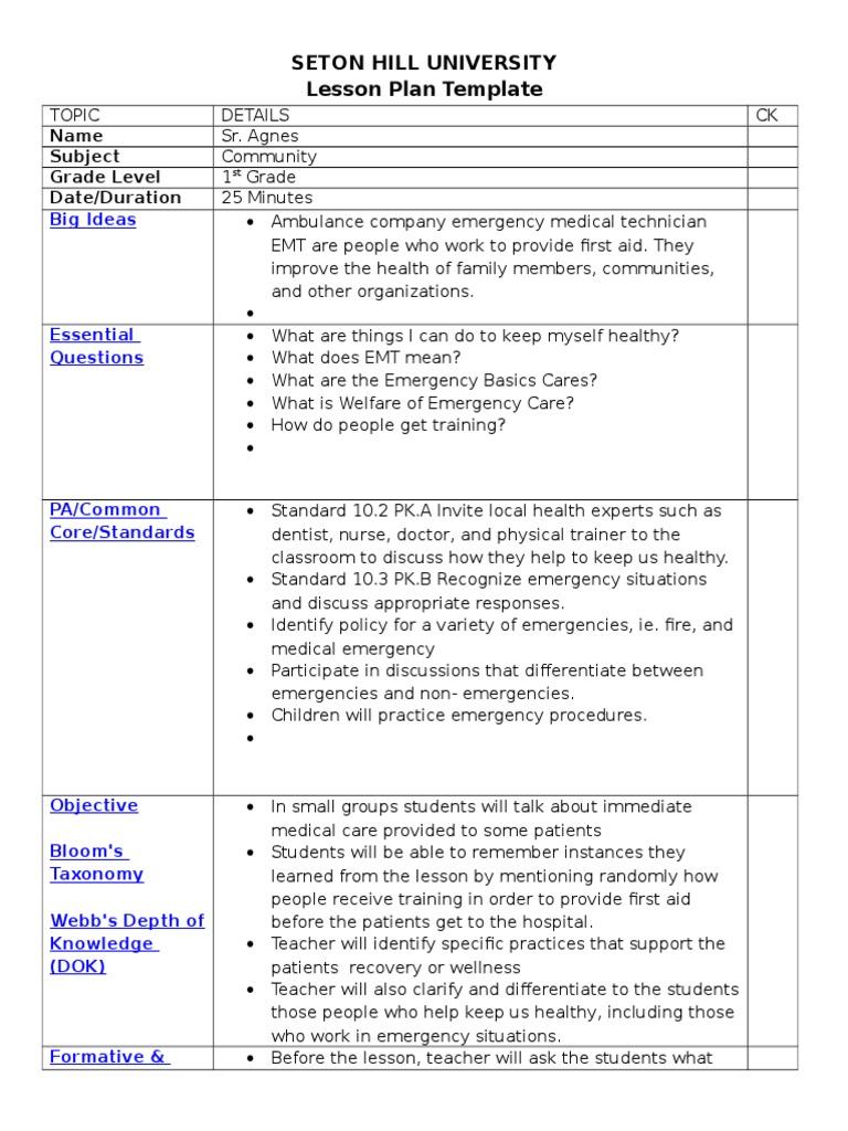 Lesson Plan Template Ed101 Boston University 40 Lesson Plan
