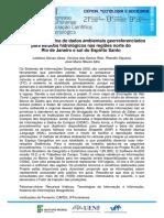 Divulgacao Cientifica de Dados Ambientais Georreferenciados Para Estudos Hidrologicos Nas Regioes Norte Do Rio de Janeiro e Sul Do Espirito Santo