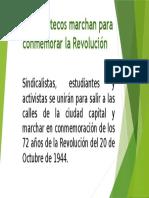 Guatemaltecos marchan para conmemorar revolucion