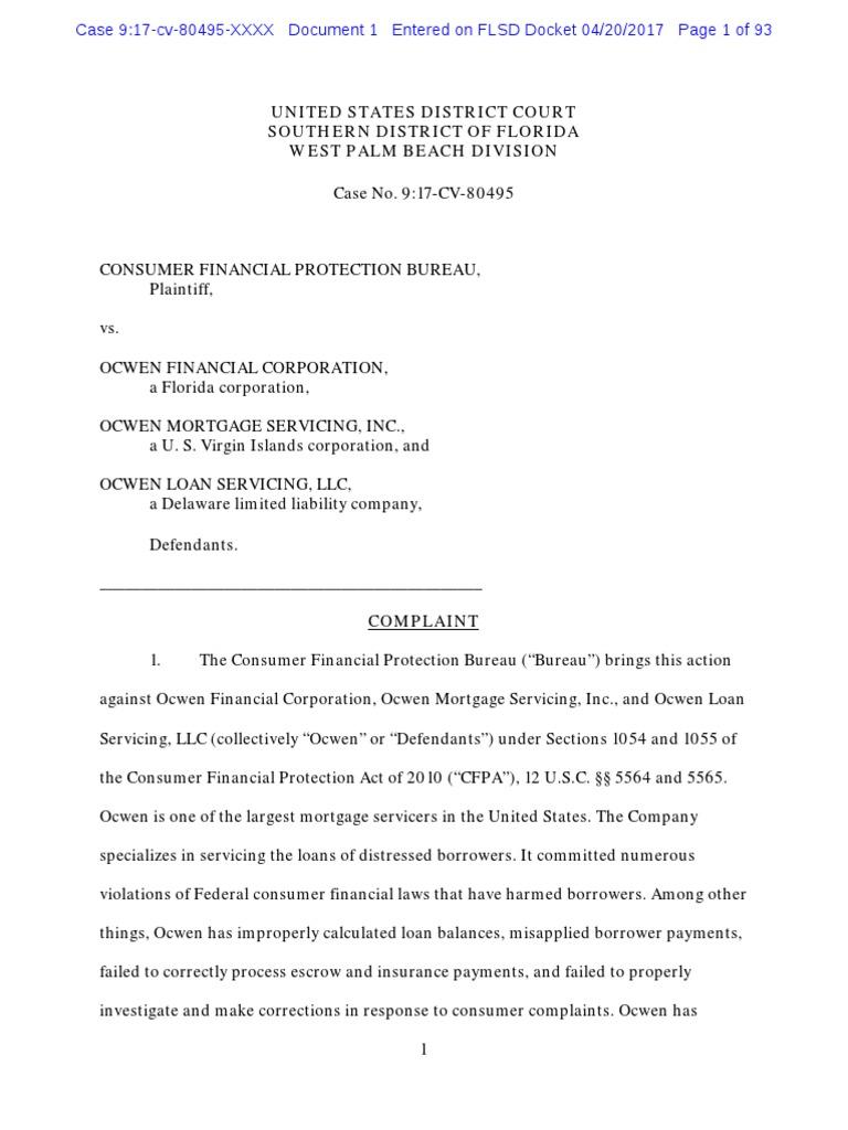 2017 Cfpb OcwenComplaint Ocwen Mortgage Loan