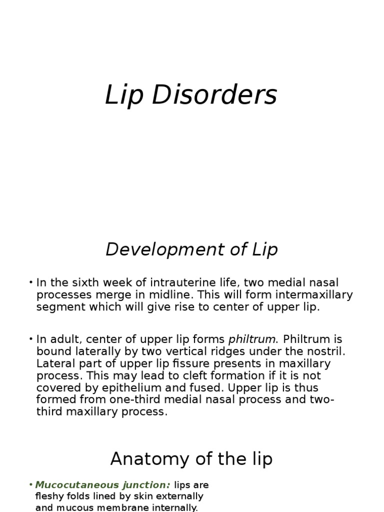 Lip Lesionspptx Lip Diseases And Disorders