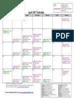 SCDNF April 2017 Schedule
