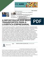 A Importância Dos Meios de Transportes Para a Logística Empresarial - Artigos - Tecnologia - Administradores