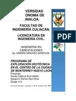 Programa de Exploración Geotécnica de La Ciudad de Monterrey Nl - Duarte Calleros - Sanguino Ramos