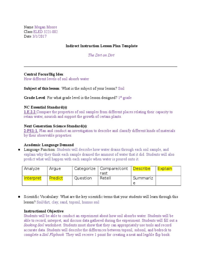 worksheet Soil Properties Worksheet sciencelesson soil experiment