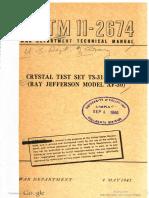TM11-2674 Crystal Test Set TS-314 FSM-1 Ray Jefferson Model AF-30, 1945