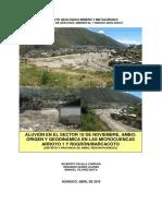 Aluvion Sector 16 de Nov. Ambo, Microcuencas Arroyo 1 y Rogron-Marcacoto