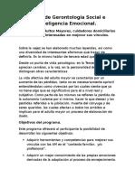 Taller de Gerontología Social e Inteligencia Emocional. Afiche