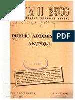 TM11-2566 Public Address Set an PIQ-1, 1945