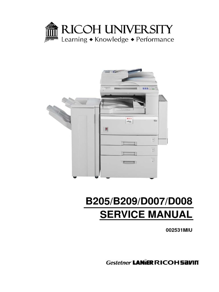 ricoh Parts Manual | Debugging | Image Scanner