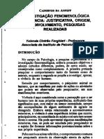 A INVESTIGAÇÃO FENOMENOLÓGICA DA VIVÊNCIA