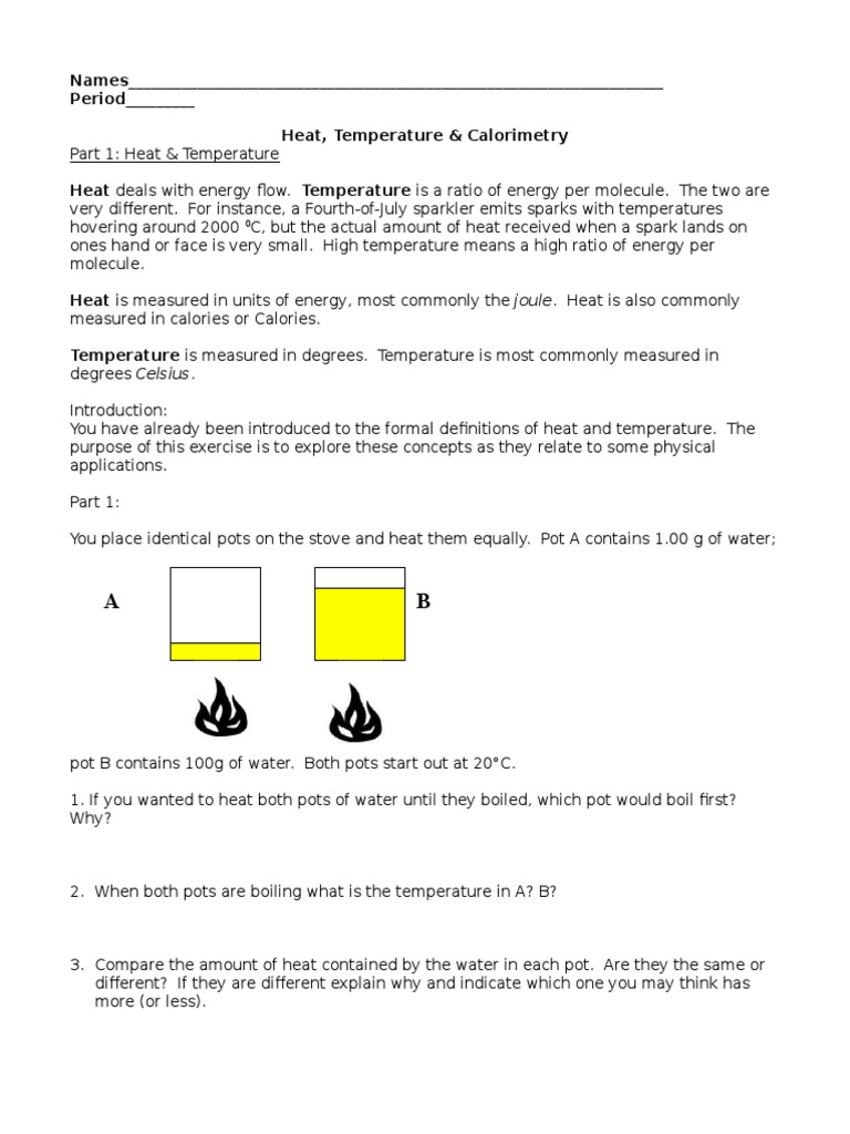 worksheet Specific Heat Calculations Worksheet Chemistry Answers pogil heat and calorimetry capacity