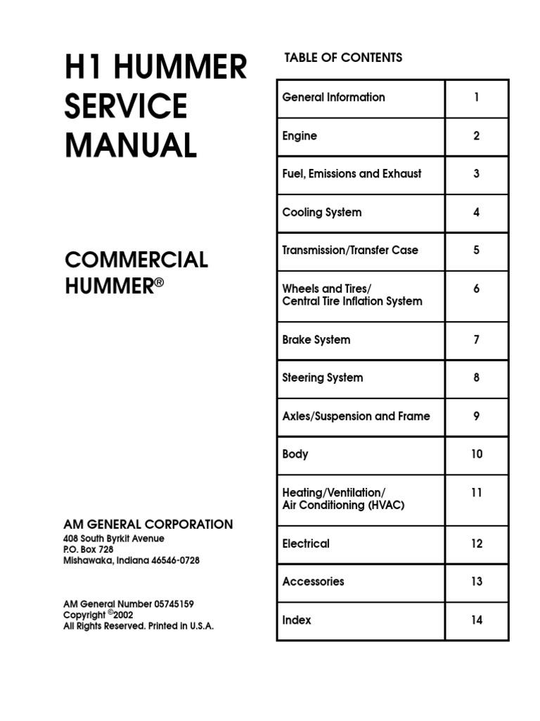 H1 Hummer Service Manual on