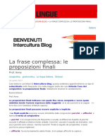 La Frase Complessa Le Proposizioni Finali