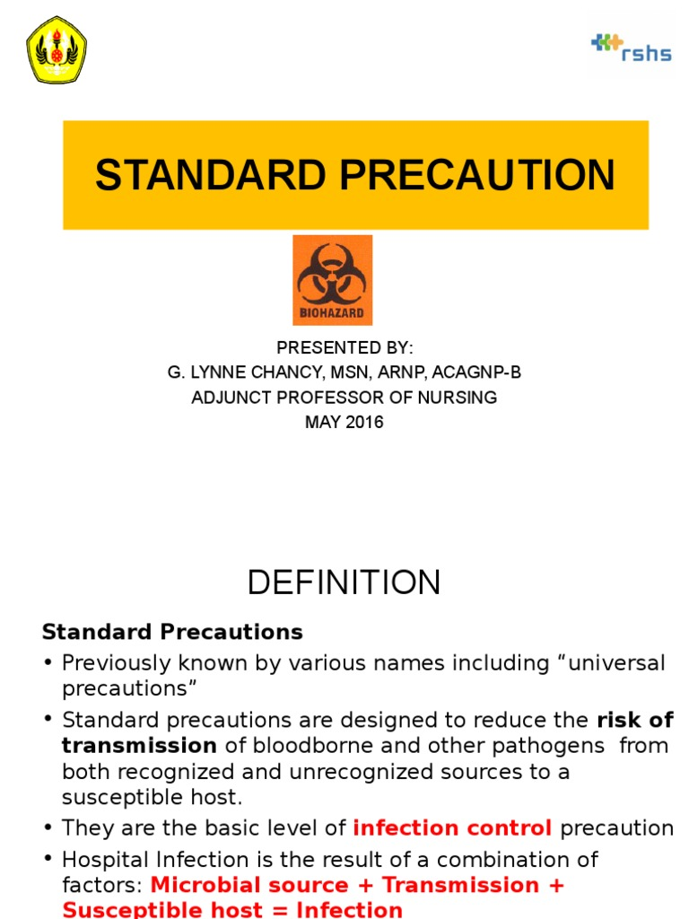 Workbooks infection control workbook : STANDARD PRECAUTIONS.ppt | Transmission (Medicine) | Infection Control