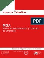 Plan de Estudios - MBA - Master en Administracion y Direccion de Empresas