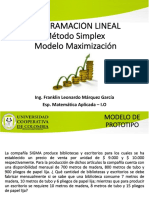 Método Simplex Maximización Ejemplo de Clase